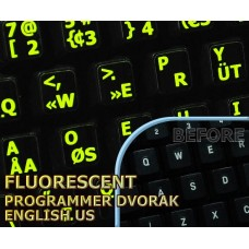 Glowing fluorescent Programmer Dvorak English keyboard stickers