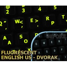 Glowing fluorescent Dvorak - English US keyboard stickers