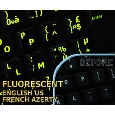 Glowing fluorescent French AZERTY  English US keyboard stickers