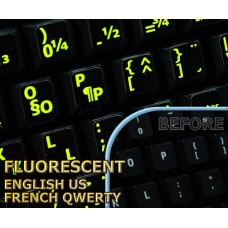 Glowing fluorescent French QWERTY - English US keyboard stickers