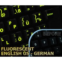 Glowing fluorescent German English US keyboard stickers
