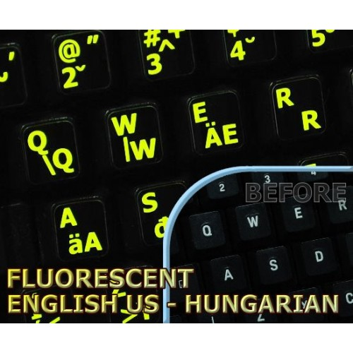Glowing Fluorescent Hungarian English Us Keyboard Stickers