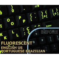 Glowing fluorescent Portuguese (Br) English US keyboard stickers