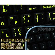 Glowing fluorescent Portuguese English US keyboard stickers