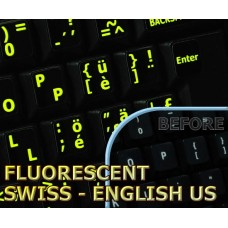 Glowing fluorescent Swiss - English keyboard stickers
