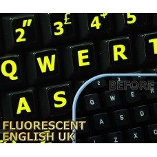 Glowing fluorescent English UK Large Letters keyboard stickers