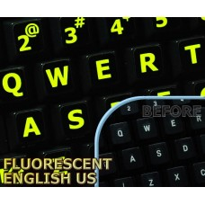 Glowing fluorescent English US Large Letters keyboard stickers