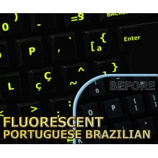Glowing fluorescent Portuguese Brazilian keyboard stickers
