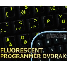 Glowing fluorescent Programmer Dvorak keyboard stickers
