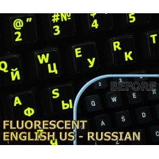 Glowing fluorescent Russian English US keyboard stickers