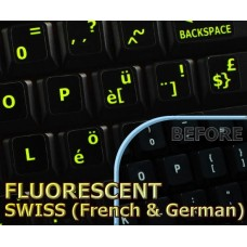 Glowing fluorescent Swiss keyboard stickers
