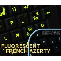 Glowing fluorescent French AZERTY keyboard stickers